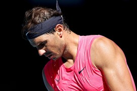 MELBOURNE, AUSTRALIA - JANUARY 25: Rafael Nadal of Spain in action during his Men's Singles third round match against Pablo Carreno Busta of Spain on day six of the 2020 Australian Open at Melbourne Park on January 25, 2020 in Melbourne, Australia. (Photo by Fred Lee/Getty Images)