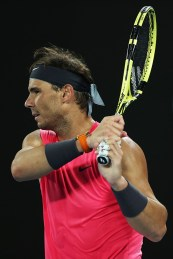 MELBOURNE, AUSTRALIA - JANUARY 23: Rafael Nadal of Spain plays a backhand during his Men's Singles second round match against Federico Delbonis of Argentina on day four of the 2020 Australian Open at Melbourne Park on January 23, 2020 in Melbourne, Australia. (Photo by Clive Brunskill/Getty Images)