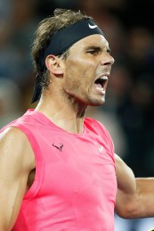 MELBOURNE, AUSTRALIA - JANUARY 23: Rafael Nadal of Spain celebrates after winning the second set during his Men's Singles second round match against Federico Delbonis of Argentina on day four of the 2020 Australian Open at Melbourne Park on January 23, 2020 in Melbourne, Australia. (Photo by Daniel Pockett/Getty Images)