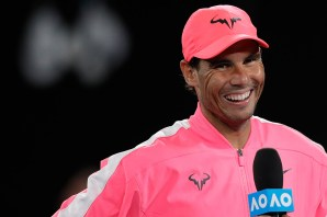 MELBOURNE, AUSTRALIA - JANUARY 23: Rafael Nadal of Spain smiles during his Men's Singles second round match against Federico Delbonis of Argentina on day four of the 2020 Australian Open at Melbourne Park on January 23, 2020 in Melbourne, Australia. (Photo by Fred Lee/Getty Images)