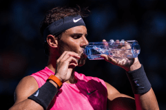 MELBOURNE, AUSTRALIA - JANUARY 25: Rafeal Nadal of Spain during a changeover in his third round match against Pablo Busta Carreno of Spain on day six of the 2020 Australian Open at Melbourne Park on January 25, 2020 in Melbourne, Australia. (Photo by Chaz Niell/Getty Images)