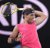 Rafael Nadal of Spain plays a shot during his quarterfinal match against Austria's Dominic Thiem at the Australian Open tennis tournament in Melbourne on Jan. 29, 2020. (Photo by Kyodo News via Getty Images)
