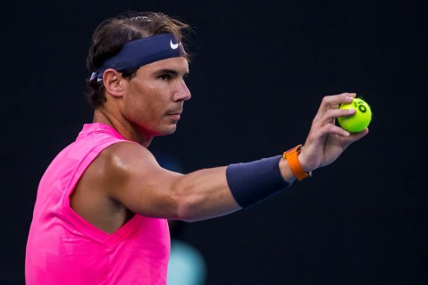 MELBOURNE, VIC - JANUARY 29: Rafael Nadal of Spain prepares to serve during the quarterfinals of the 2020 Australian Open on January 29 2020, at Melbourne Park in Melbourne, Australia. (Photo by Jason Heidrich/Icon Sportswire via Getty Images)