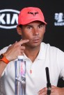 Spain's Rafael Nadal speaks at a press conference after losing his men's singles quarter-final match against Austria's Dominic Thiem on day ten of the Australian Open tennis tournament in Melbourne on January 29, 2020. (Photo by DAVID GRAY / AFP) / IMAGE RESTRICTED TO EDITORIAL USE - STRICTLY NO COMMERCIAL USE (Photo by DAVID GRAY/AFP via Getty Images)