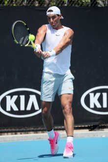 MELBOURNE, AUSTRALIA - JANUARY 26: Rafael Nadal of Spain plays a backhand during a practice session on day seven of the 2020 Australian Open at Melbourne Park on January 26, 2020 in Melbourne, Australia. (Photo by Wayne Taylor/Getty Images)