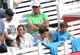 Toni Nadal , second row at right, uncle and coach of Spain's Rafael Nadal watches the semifinal match between Rafael Nadal of Spain and Andreas Seppi of Italy at the ATPtennis tournament in Hamburg, Germany, Saturday Aug. 1, 2015. (Daniel Reinhardt/dpa via AP)