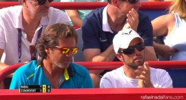 Rafael Nadal assistent coach Francisco Roig and physio Rafael Maymo at Rogers Cup in Montreal