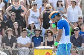 MONTREAL, ON - AUGUST 10: Rafael Nadal of Spain reacts on a call during day one of the Rogers Cup at Uniprix Stadium in his doubles match against Tomas Berdych of the Czech Republic and Jack Sock of the USA on August 10, 2015 in Montreal, Quebec, Canada. (Photo by Minas Panagiotakis/Getty Images)