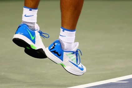 CINCINNATI, OH - AUGUST 20: A detail of Rafael Nadal of Spain's shoes as he serves against Feliciano Lopez of Spain during Day 6 of the Western & Southern Open at the Lindner Family Tennis Center on August 20, 2015 in Cincinnati, Ohio. (Photo by Maddie Meyer/Getty Images)