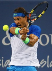 CINCINNATI, OH - AUGUST 19: Rafael Nadal of Spain returns a shot to Jeremy Chardy of France during Day 5 of the Western & Southern Open at the Lidler Family Tennis Center on August 18, 2015 in Cincinnati, Ohio. (Photo by Maddie Meyer/Getty Images)