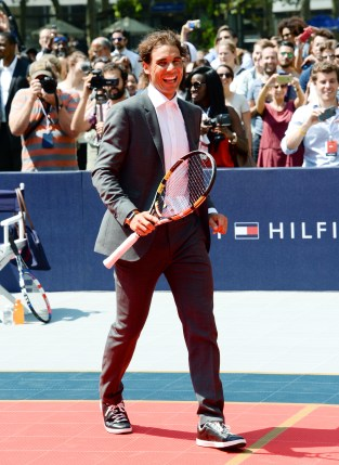 Professional tennis player Rafael Nadal participates in the Tommy Hilfiger Global Brand launch tennis event on Tuesday, Aug. 25, 2015, in New York. (Photo by Evan Agostini/Invision/AP)