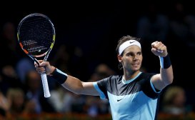Rafael Nadal of Spain reacts after winning his semi-final match against France's Richard Gasquet at the Swiss Indoors ATP men's tennis tournament in Basel, Switzerland October 31, 2015. REUTERS/Arnd Wiegmann