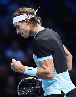 Rafa Nadal in action against Novak Djokovic at ATP Finals