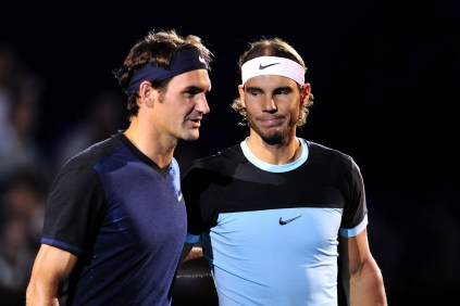 BASEL, SWITZERLAND - NOVEMBER 01: Roger Federer of Switzerland and Rafael Nadal of Spain pose prior the final match of the Swiss Indoors ATP 500 tennis tournament at St Jakobshalle on November 1, 2015 in Basel, Switzerland (Photo by Harold Cunningham/Getty Images)