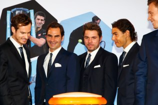 Andy Murray of Great Britain, Roger Federer of Switzerland, Stan Wawrinka of Switzerland, Rafael Nadal of Spain and Tomas Berdych of Czech Republic prepare to launch the Vixlet app during the Barclays ATP World Tour Finals Draw at City Hall on November 12, 2015 in London, England. (Nov. 11, 2015 - Source: Julian Finney/Getty Images Europe)
