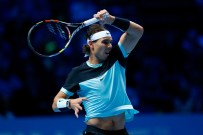 Rafael Nadal of Spain hits a forehand during the men's singles semi final against Novak Djokovic of Serbia on day seven of the Barclays ATP World Tour Finals at the O2 Arena on November 21, 2015 in London, England. (Nov. 20, 2015 - Source: Julian Finney/Getty Images Europe)