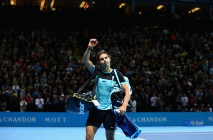 LONDON, ENGLAND - NOVEMBER 21: Rafael Nadal of Spain waves goodbye to the crowd after his straight sets defeat by Novak Djokovic of Serbia during the men's singles semi final match on day seven of the Barclays ATP World Tour Finals at O2 Arena on November 21, 2015 in London, England. (Photo by Clive Brunskill/Getty Images)