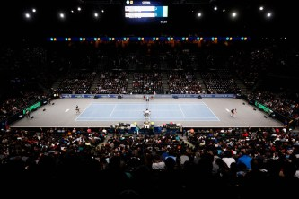 A general view of Rafael Nadal of Spain in action against Lukas Rosol of Czech Republic during Day 3 of the BNP Paribas Masters held at AccorHotels Arena on November 4, 2015 in Paris, France. (Nov. 3, 2015 - Source: Dean Mouhtaropoulos/Getty Images Europe)