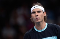 PARIS, FRANCE - NOVEMBER 04: Rafael Nadal of Spain reacts during his Men's second round match against Lukas Rosol of Czech Repubilc on day three of the BNP Paribas Masters at Palais Omnisports de Bercy on November 4 2015 in Paris, France. (Photo by Aurelien Meunier/Getty Images)