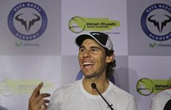 Spain's Rafael Nadal speaks during a press conference at a promotional event in New Delhi, India, Thursday, Dec. 10, 2015. Nadal, who plays for Indian Aces in the International Professional Tennis League (IPTL), is in India to play a leg of the league. (AP Photo/Altaf Qadri)