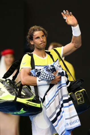 MELBOURNE, AUSTRALIA - JANUARY 19: Rafael Nadal of Spain walks off court after losing his first round match against Fernando Verdasco of Spain during day two of the 2016 Australian Open at Melbourne Park on January 19, 2016 in Melbourne, Australia. (Photo by Michael Dodge/Getty Images)