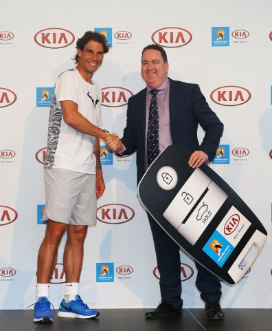Rafael Nadal during a Kia Key handover ceremony at Garden Square in Melbourne Park on January 13, 2016 in Melbourne, Australia. (Graham Denholm/Getty Images AsiaPac)