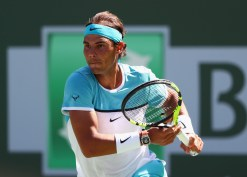 Rafael Nadal of Spain in action in his match against Novak Djokovic of Serbia in the semi finals during day thirteen of the BNP Paribas Open at Indian Wells Tennis Garden on March 19, 2016 in Indian Wells, California. (March 18, 2016 - Source: Julian Finney/Getty Images North America)