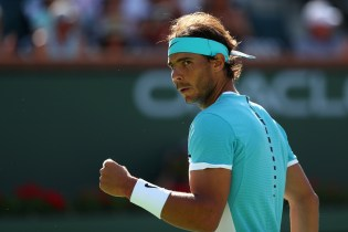 INDIAN WELLS, CA - MARCH 15: Rafael Nadal of Spain celebrates winning a point against Fernando Verdasco of Spain during day nine of the BNP Paribas Open at Indian Wells Tennis Garden on March 15, 2016 in Indian Wells, California. (Photo by Julian Finney/Getty Images)