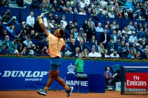 BARCELONA, SPAIN - APRIL 22: Rafael Nadal of Spain in action against Fabio Fognini of Italy during day five of the Barcelona Open Banc Sabadell at the Real Club de Tenis Barcelona on April 22, 2016 in Barcelona, Spain. (Photo by Manuel Queimadelos Alonso/Getty Images)