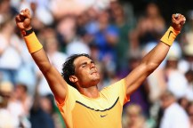 MONTE-CARLO, MONACO - APRIL 16: Rafael Nadal of Spain celebrates match point in his 2-6,6-4,6-2 victory during his semi-final match against Andy Murray of Great Britain during the Monte Carlo Rolex Masters at Monte-Carlo Sporting Club on April 16, 2016 in Monte-Carlo, Monaco. (Photo by Michael Steele/Getty Images)