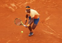 Rafael Nadal of Spain sprints to make a return during the singles final match against Gael Monfils of France on day eight of the Monte Carlo Rolex Masters at Monte-Carlo Sporting Club on April 17, 2016 in Monte-Carlo, Monaco. (April 16, 2016 - Source: Michael Steele/Getty Images Europe)