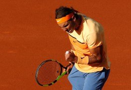 Spain's Rafael Nadal reacts during his game with Japan's Kei Nishikori during the Barcelona Open tennis tournament final in Barcelona, Spain, Sunday, April 24, 2016. (AP Photo/Manu Fernandez)