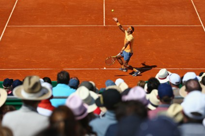 Rafael Nadal serves during the semi final match on day seven of the Monte Carlo Rolex Masters at Monte-Carlo Sporting Club on April 16, 2016 in Monte-Carlo, Monaco.