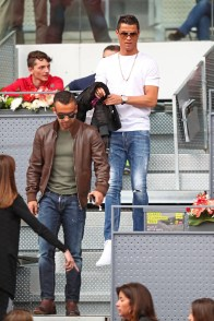 MADRID, SPAIN - MAY 06: Footballer Cristiano Ronaldo attends the Men's Singles Quarter Final match between Rafael Nadal of Spain and Joao Sousa of Portugal during day seven of the Mutua Madrid Open at La Caja Magica on May 6, 2016 in Madrid, Spain. (Photo by Julian Finney/Getty Images)