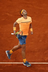 MADRID, SPAIN - MAY 06: Rafael Nadal of Spain celebrates defeating Joao Sousa of Portugal during day seven of the Mutua Madrid Open tennis tournament at the Caja Magica on May 06, 2016 in Madrid, Spain. (Photo by Julian Finney/Getty Images)