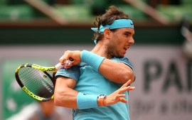 PARIS, FRANCE - MAY 26: Rafael Nadal of Spain hits a forehand during the Men's Singles second round match against Facundo Bagnis of Argentina on day five of the 2016 French Open at Roland Garros on May 26, 2016 in Paris, France. (Photo by Dennis Grombkowski/Getty Images)