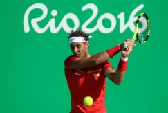2016 Rio Olympics - Tennis - Final - Men's Singles Bronze Medal Match - Olympic Tennis Centre - Rio de Janeiro, Brazil - 14/08/2016. Rafael Nadal (ESP) of Spain in action against Kei Nishikori (JPN) of Japan. REUTERS/Kevin Lamarque FOR EDITORIAL USE ONLY. NOT FOR SALE FOR MARKETING OR ADVERTISING CAMPAIGNS.