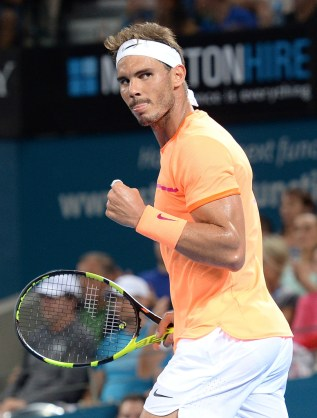 Rafael Nadal of Spain celebrates winning the first set against Milos Raonic of Canada on day six of the 2017 Brisbane International at Pat Rafter Arena on January 6, 2017 in Brisbane, Australia. (Jan. 5, 2017 - Source: Bradley Kanaris/Getty Images AsiaPac)