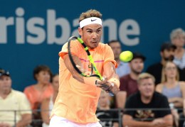 Rafael Nadal of Spain plays a backhand against Milos Raonic of Canada on day six of the 2017 Brisbane International at Pat Rafter Arena on January 6, 2017 in Brisbane, Australia. (Jan. 5, 2017 - Source: Bradley Kanaris/Getty Images AsiaPac)