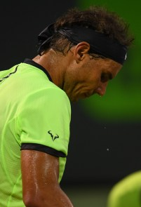 Sweat drips from Rafael Nadal of Spain during a match against Jack Sock at Crandon Park Tennis Center on March 29, 2017 in Key Biscayne, Florida. (March 28, 2017 - Source: Rob Foldy/Getty Images North America)
