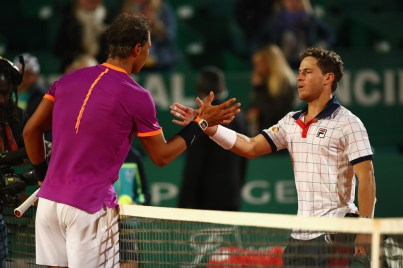 Rafael Nadal of Spain shakes hands at the net after his straight set victory against Diego Schwartzman of Argentina in their quarter final round match on day six of the Monte Carlo Rolex Masters at Monte-Carlo Sporting Club on April 21, 2017 in Monte-Carlo, Monaco. (April 20, 2017 - Source: Clive Brunskill/Getty Images Europe)