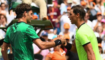 Roger Federer of Switzerland (left) and Rafael Nadal of Spain (right) shake hands after Federer defeated Nadal in the men's final match on day 14 of the Miami Open at Crandon Park Tennis Center on April 2, 2017 in Key Biscayne, Florida. (April 1, 2017 - Source: Rob Foldy/Getty Images North America)