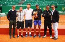 Team Nadal L-R Agent Carlos Costa, physio Rafael Maymo,coach Carlos Moya,Rafael Nadal with his 10th winners trophy, coach Toni Nadal and PR Benito Perez Barbadillo after his straight set victory against Albert Ramos-Vinolas of Spain in the final on day eight of the Monte Carlo Rolex Masters at Monte-Carlo Sporting Club on April 23, 2017 in Monte-Carlo, Monaco. (April 22, 2017 - Source: Clive Brunskill/Getty Images Europe)
