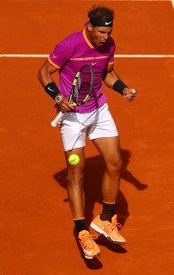 Rafael Nadal of Spain celebrates a point during his match against Fabio Fognini of Italy on day five of the Mutua Madrid Open tennis at La Caja Magica on May 10, 2017 in Madrid, Spain. (May 9, 2017 - Source: Clive Rose/Getty Images Europe)