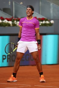 Rafael Nadal of Spain celebrates defeating Fabio Fognini of Italy during day five of the Mutua Madrid Open tennis at La Caja Magica on May 10, 2017 in Madrid, Spain. (May 9, 2017 - Source: Julian Finney/Getty Images Europe)
