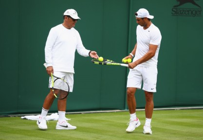 LONDON, ENGLAND - JULY 01: Rafael Nadal of Spain with coach Toni Nadal during a practice session ahead of the Wimbledon Lawn Tennis Championships at the All England Lawn Tennis and Croquet Club on July 1, 2017 in London, England. (Photo by Clive Brunskill/Getty Images)