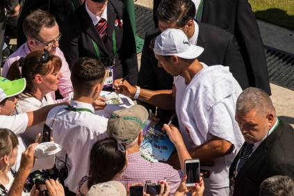 Rafael Nadal of Spain signs autographs after a training session on day seven of the Wimbledon Lawn Tennis Championships at the All England Lawn Tennis and Croquet Club on July 10, 2017 in London, England. (July 9, 2017 - Source: David Ramos/Getty Images Europe)