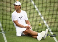 Rafael Nadal of Spain looks on in a training session at Wimbledon on July 9, 2017 in London, England. (July 8, 2017 - Source: Julian Finney/Getty Images Europe)