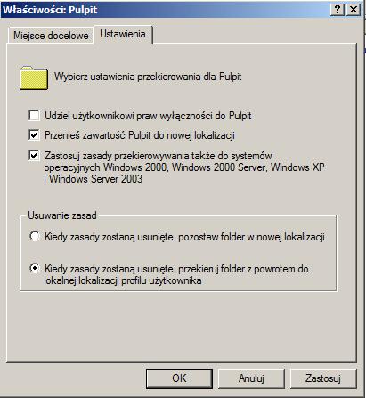 Zadanie utrwalające podstawową konfigurację Active Directory - przekierowanie folderów.