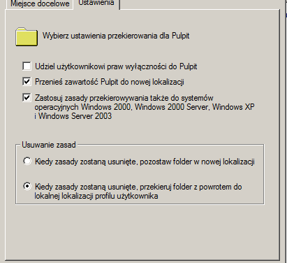 Zadanie utrwalające podstawową konfigurację Active Directory – przekierowanie folderów.